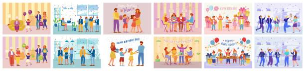illustrazioni stock, clip art, cartoni animati e icone di tendenza di set di illustrazioni vettoriali piatte per feste di compleanno. buona festa di celebrazione dell'anniversario. ospiti e padroni di casa di festa. le persone cenano in vacanza con colleghi, personaggi dei cartoni animati di famiglia - tavola imbandita