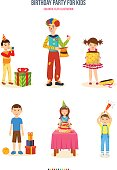 Birthday party for kids. Playing on a pipe, entertainment and unusual tricks, nice holiday gifts, a wonderful mood, various sweets and surprises, fun and good mood. Colorful flat illustration.