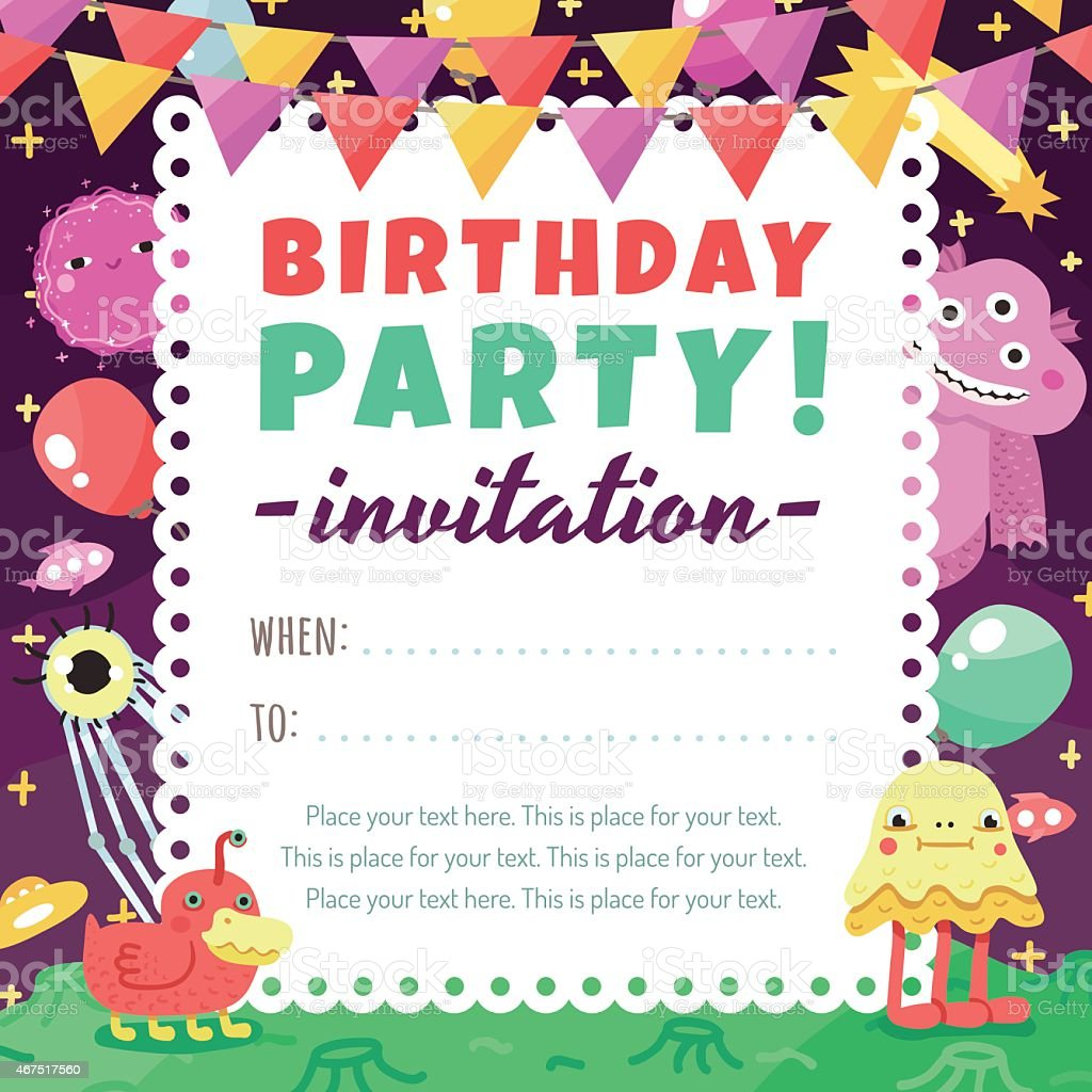Birthday Party Funny Space Invitation With Cartoon Aliens And ...