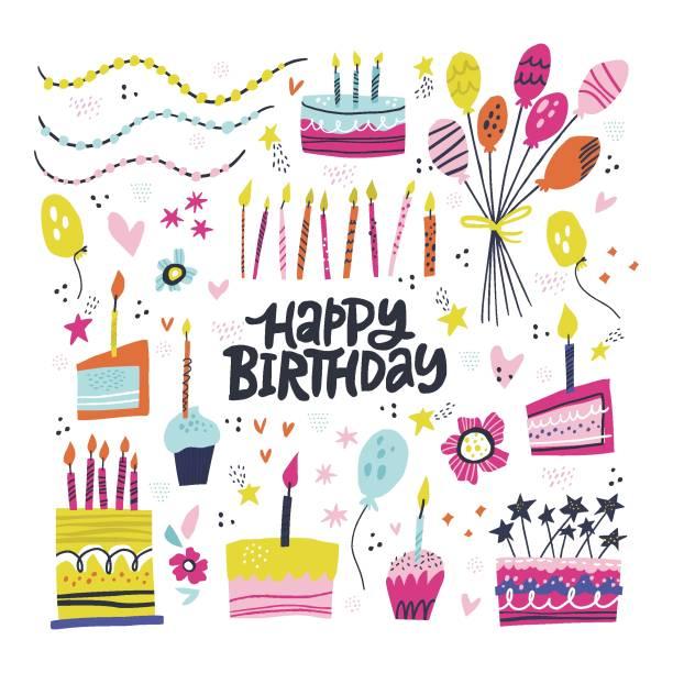 birthday party hand drawn illustrations set - anniversary clipart stock illustrations
