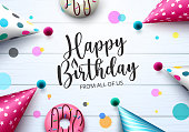 istock Birthday party hats and donut vector design. Happy birthday text with colorful party hat and doughnut elements for birth day celebration greeting card. Vector illust 1328603995
