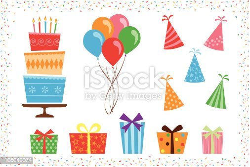 A set of colorful birthday party objects, including birthday cake, bunch of balloons, party hats, presents, and confetti border.