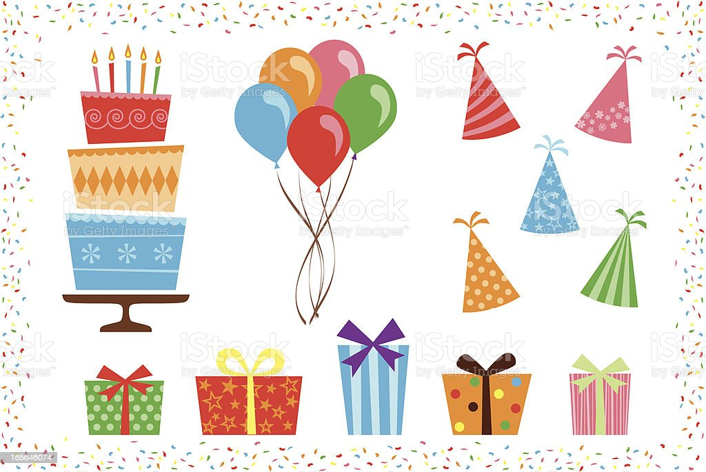 Birthday Party Icon Elements vector art illustration