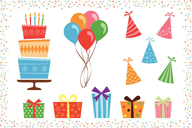 birthday party icon elements - happy birthday cake stock illustrations, clip art, cartoons, & icons