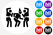 Birthday Party Icon on Flat Color Circle Buttons. This 100% royalty free vector illustration features the main icon pictured in black inside a white circle. The alternative color options in blue, green, yellow, red, purple, indigo, orange and black are on the right of the icon and are arranged in two vertical columns.