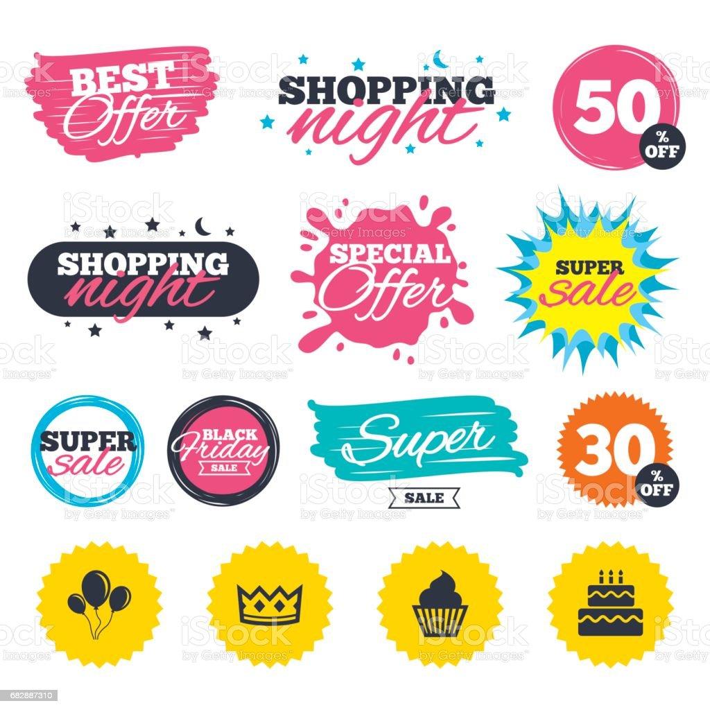 Geburtstagsparty-icons. Cake oder cupcake-symbol. Lizenzfreies geburtstagspartyicons cake oder cupcakesymbol stock vektor art und mehr bilder von abzeichen