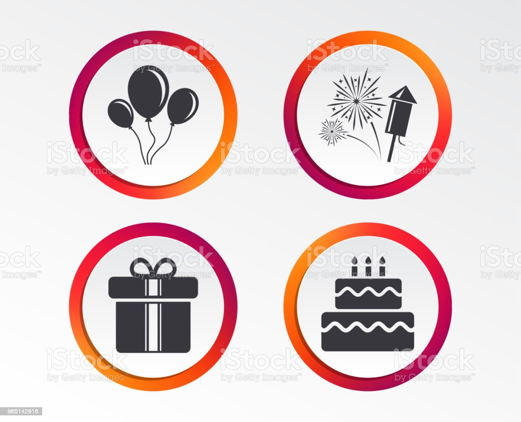 Birthday party icons. Cake and gift box symbol. birthday party icons cake and gift box symbol - stockowe grafiki wektorowe i więcej obrazów aplikacja mobilna royalty-free