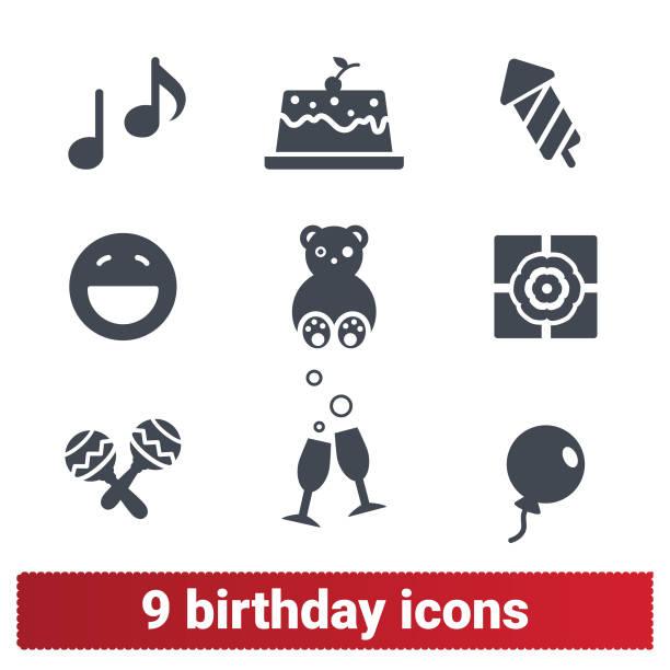 illustrations, cliparts, dessins animés et icônes de birthday party icônes. célébration des vacances en famille - ballon anniversaire smiley