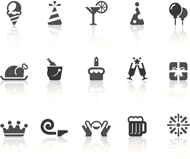 birthday party icons | simple black series - anniversary symbols stock illustrations