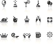 Birthday Party Icons   Simple Black Series