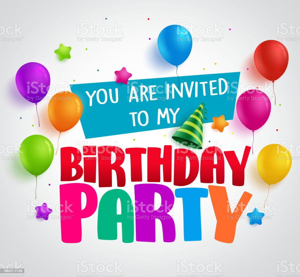 Birthday party invitation background vector design with greetings vector art illustration