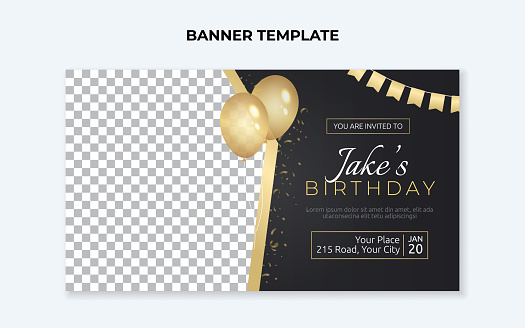 Birthday party invitation banner template with golden balloons and flags