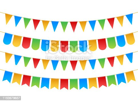 istock Birthday party invitation banners. Set of flag garlands. Vector stock illustration. 1153679657