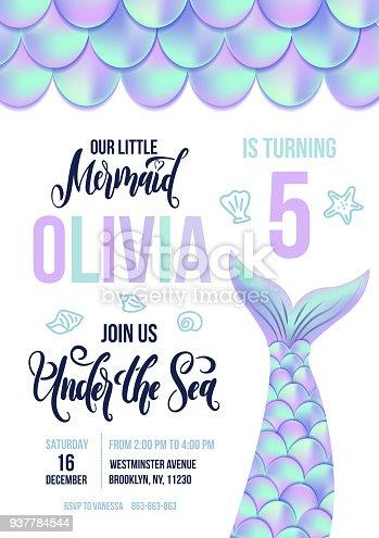 Invitation Cards Mermaid Underwater World MERMAID INVITATIONS Children Birthday