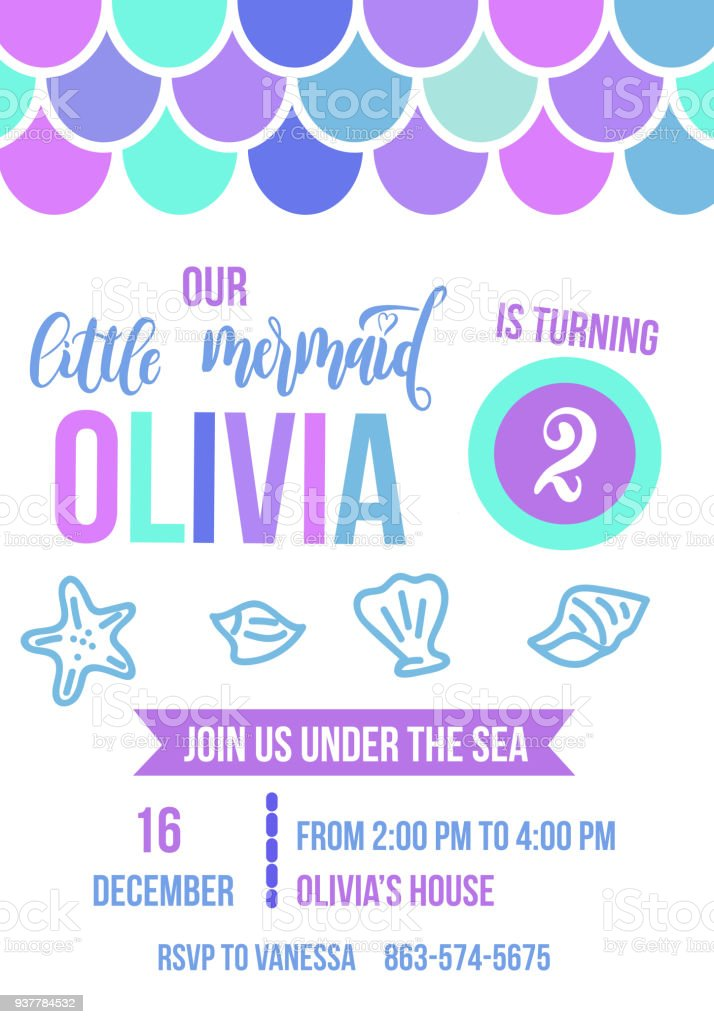 Birthday party invitation card for little girl mermaid stock vector birthday party invitation card for little girl mermaid royalty free birthday party invitation card stopboris Gallery