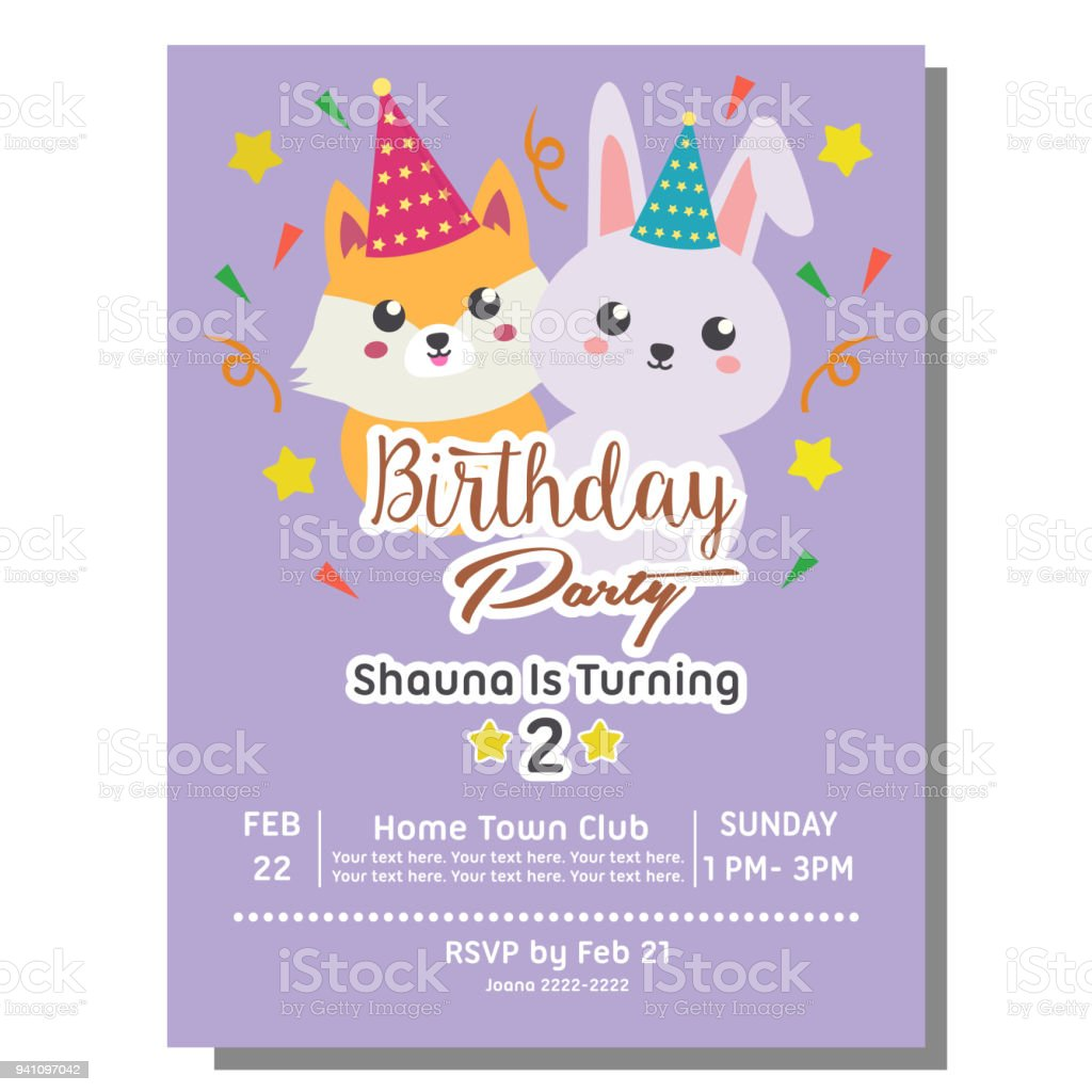 Birthday party invitation card in flat style with kawaii animal birthday party invitation card in flat style with kawaii animal royalty free birthday party invitation stopboris Images