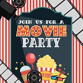 birthday party invitation card movie party hollywood party cinema