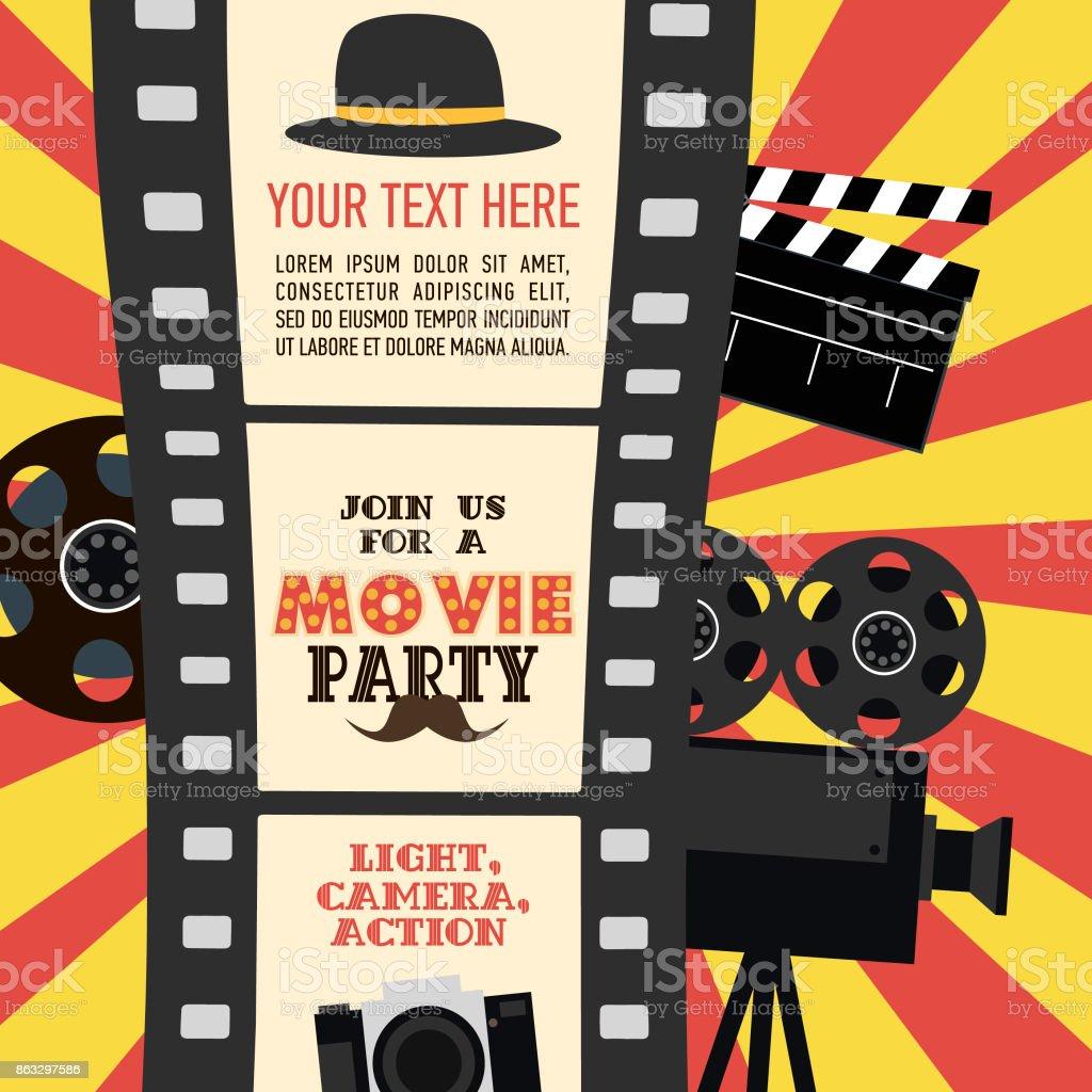 Tarjeta de invitación de cumpleaños partido, partido de película, partido de Hollywood. Cartel de cine - ilustración de arte vectorial