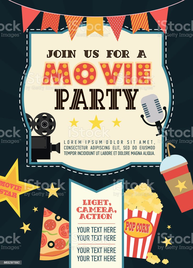 Birthday Party Invitation Card Movie Party Hollywood Party Cinema