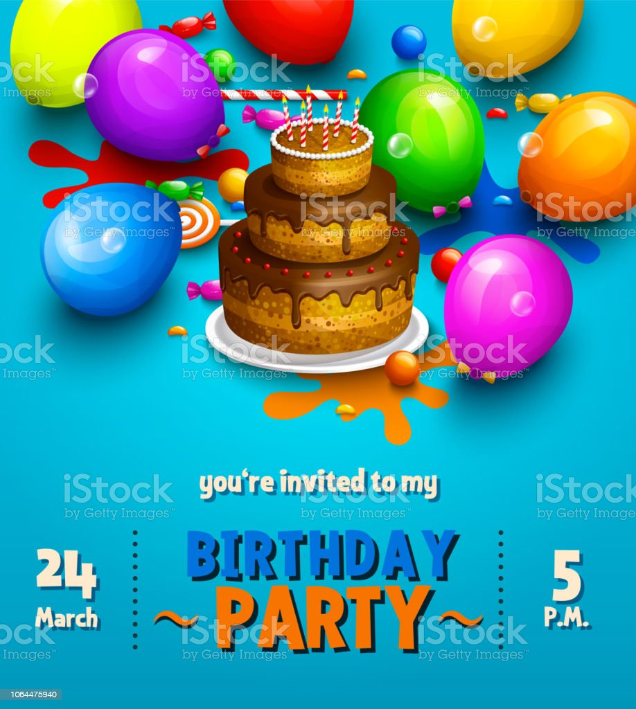 Birthday Party Invitation Card Party Multicolored Balloons
