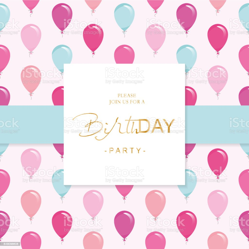 Birthday Party Invitation Card Template Included Seamless Pattern ...