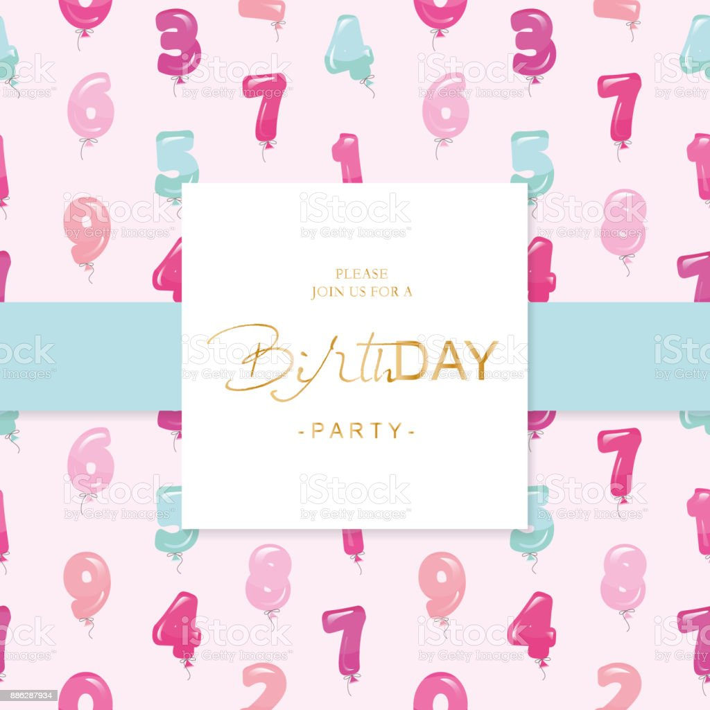 Birthday party invitation card template included seamless pattern birthday party invitation card template included seamless pattern with glossy pink and blue balloon numbers stopboris Gallery