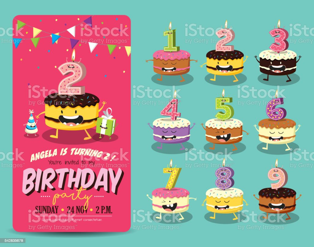 Birthday Party Invitation Card Template vector art illustration
