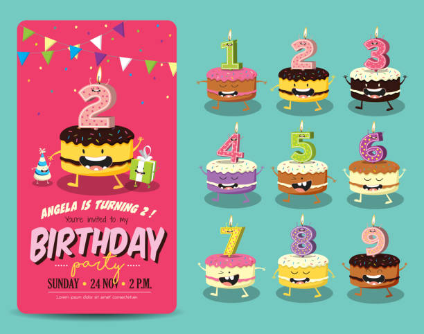 birthday party invitation card template - happy birthday cake stock illustrations, clip art, cartoons, & icons