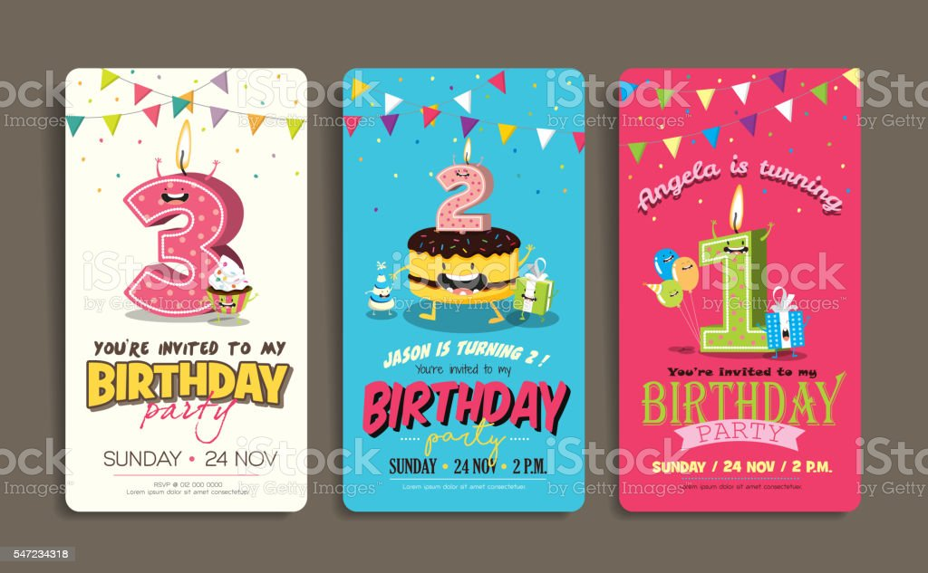 Birthday Party Invitation Card Template - ilustración de arte vectorial