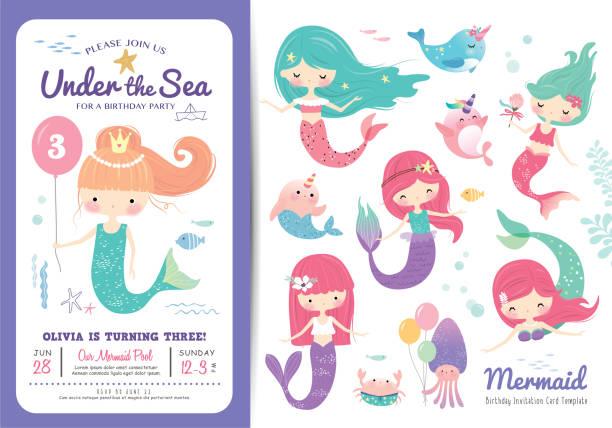 Invitaciones De Cumpleaños De Sirena Vectores Libres De