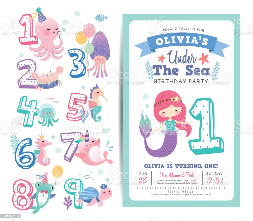 Birthday Party Invitation Card Template Stockowe Grafiki