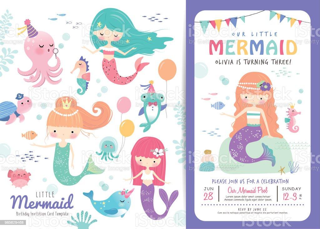 Birthday Party Invitation Card Template Stockowe Grafiki