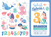 Birthday party invitation card template with cute marine life cartoon character and birthday anniversary numbers