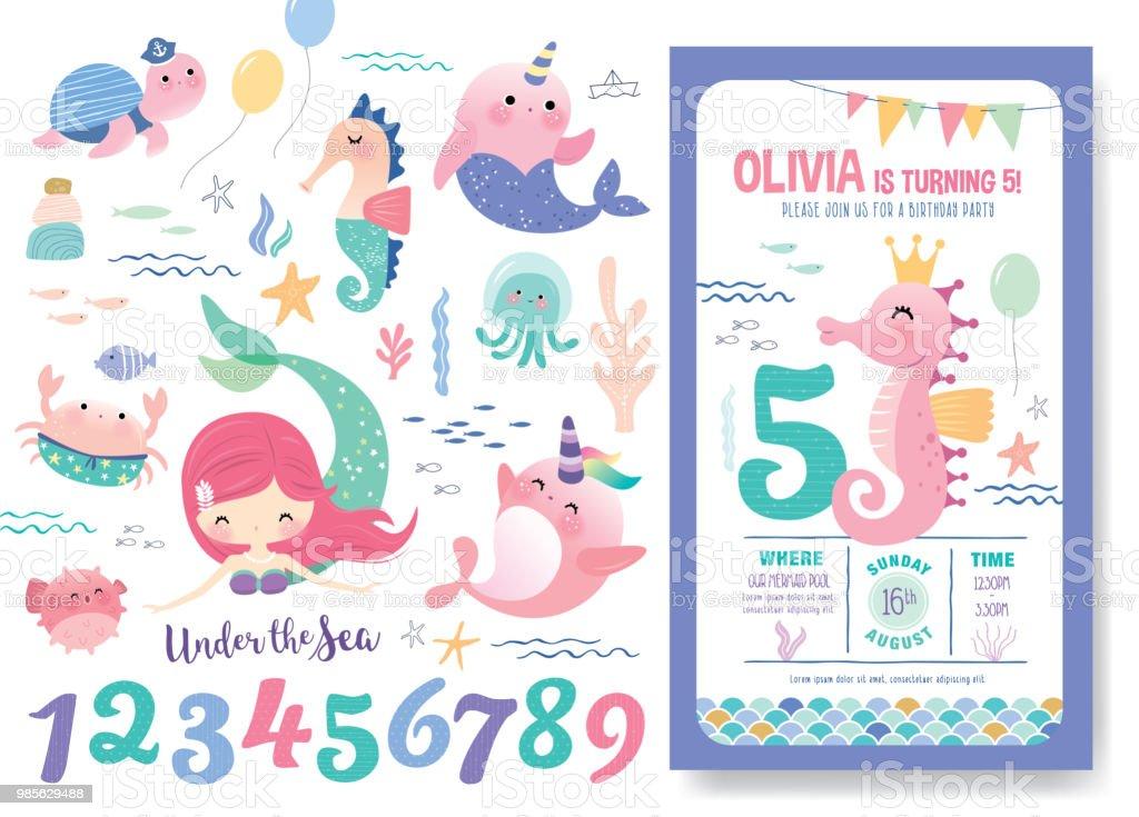Birthday Party Invitation Card Template Stock Illustration