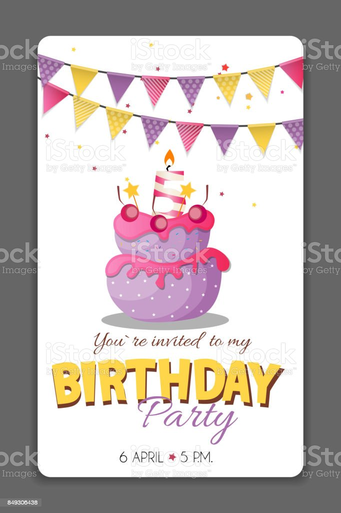 Birthday Party Invitation Card Template Vector Illustration Royalty Free  Stock Vector Art
