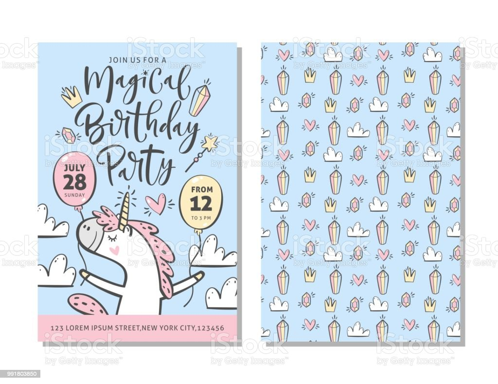 Birthday Party Invitation Card Template With Cute Unicorn