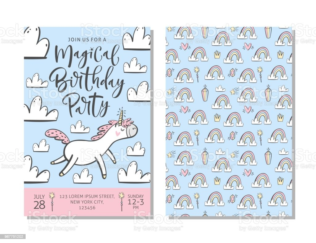 Birthday Party Invitation Card Template With Cute Unicorn Stock