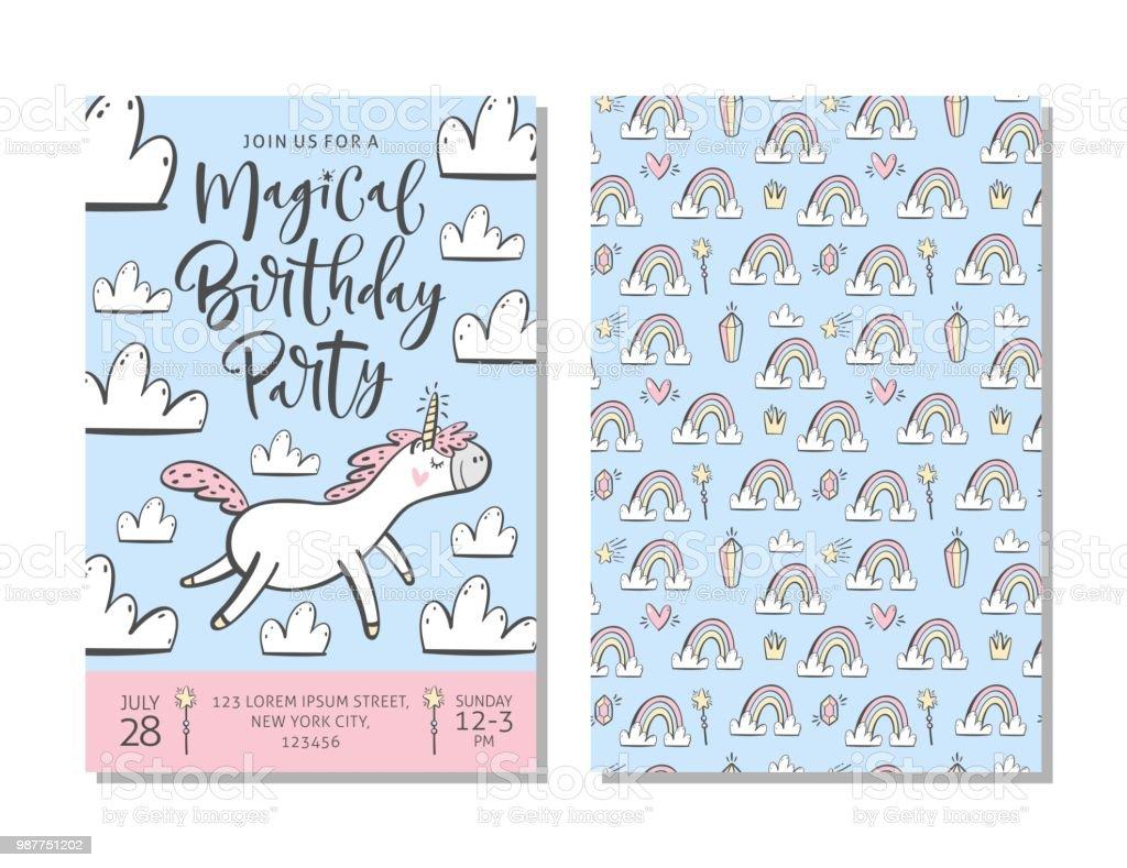 88976f39c8279 Plantilla de tarjeta de invitación cumpleaños fiesta con lindo unicornio.  ilustración de plantilla de tarjeta