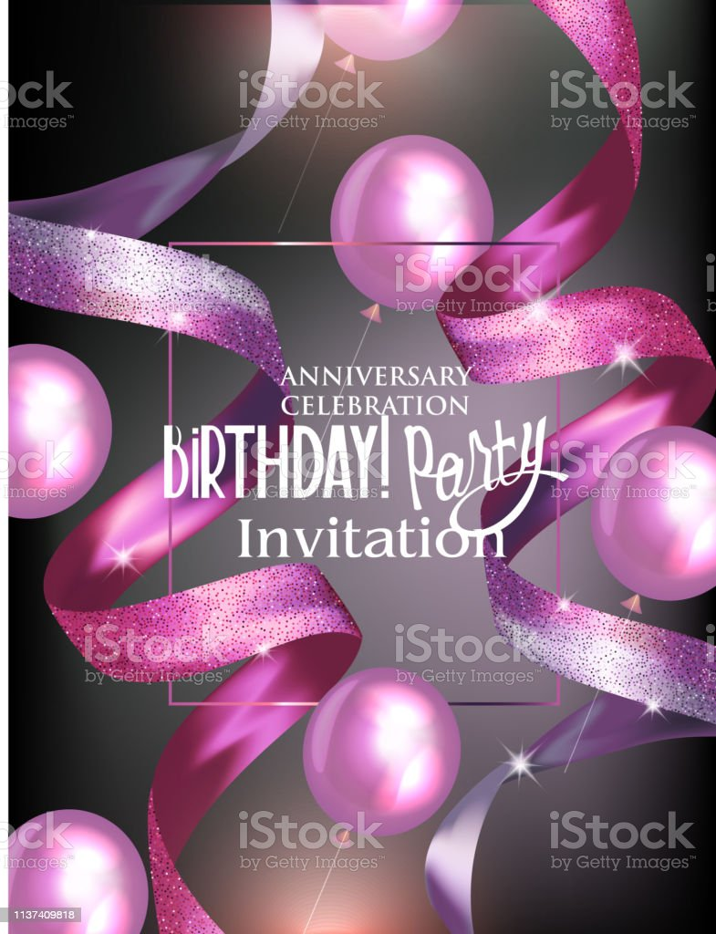 Birthday Party Invitation Card With Beautiful Ribbons And