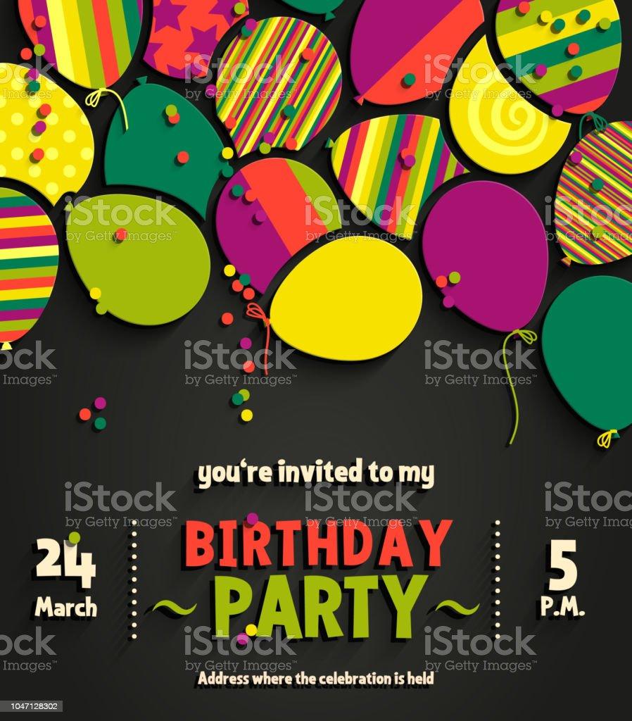 Ilustración De Tarjeta De Invitación Cumpleaños Partido Con