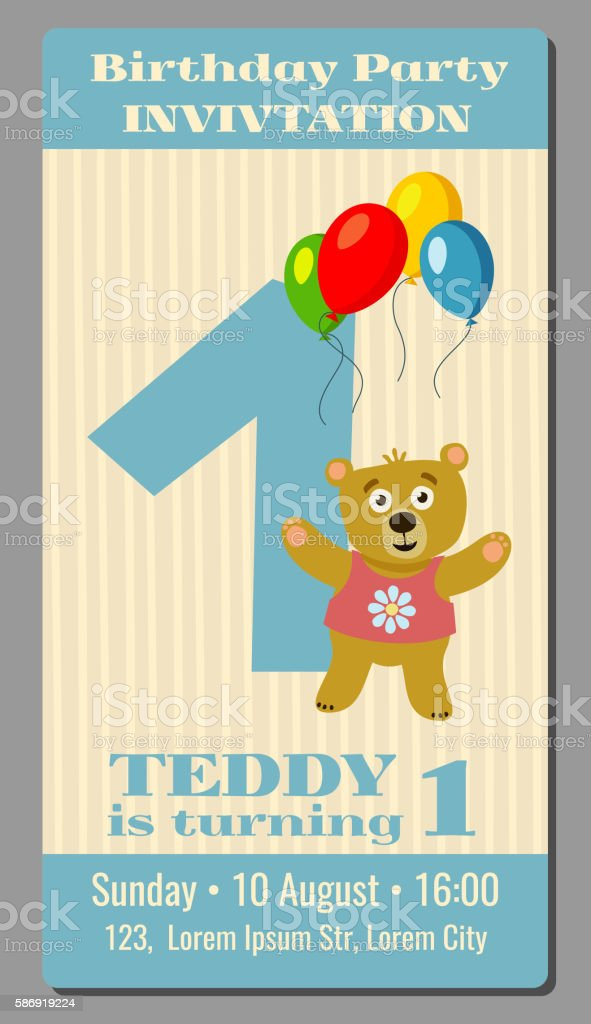 Ilustrao de birthday party invitation card with cute bear vector birthday party invitation card with cute bear vector template 1 ilustrao de birthday party invitation card stopboris Images