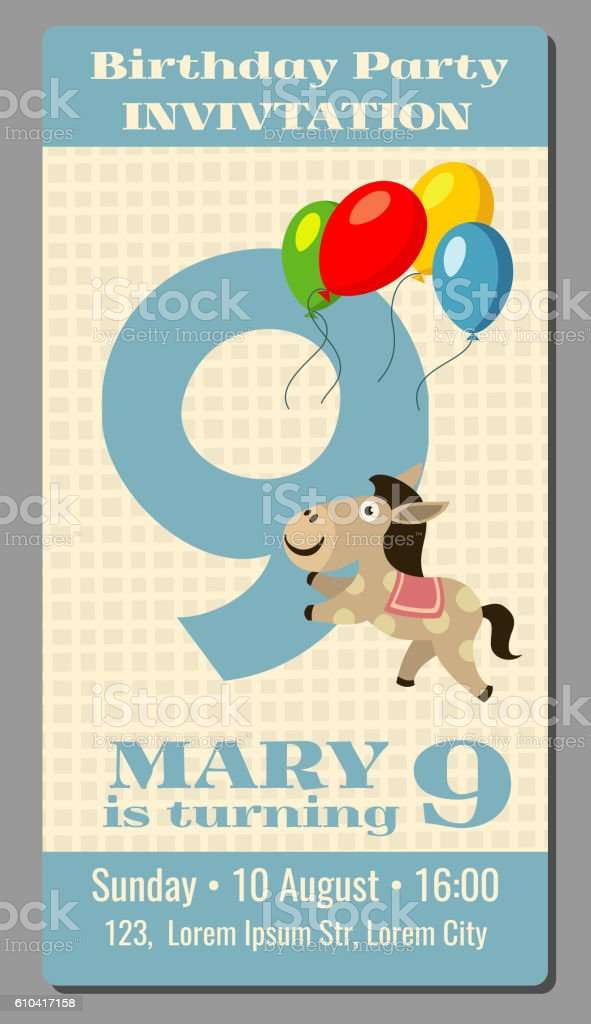birthday party invitation card with cute horse vector template 9