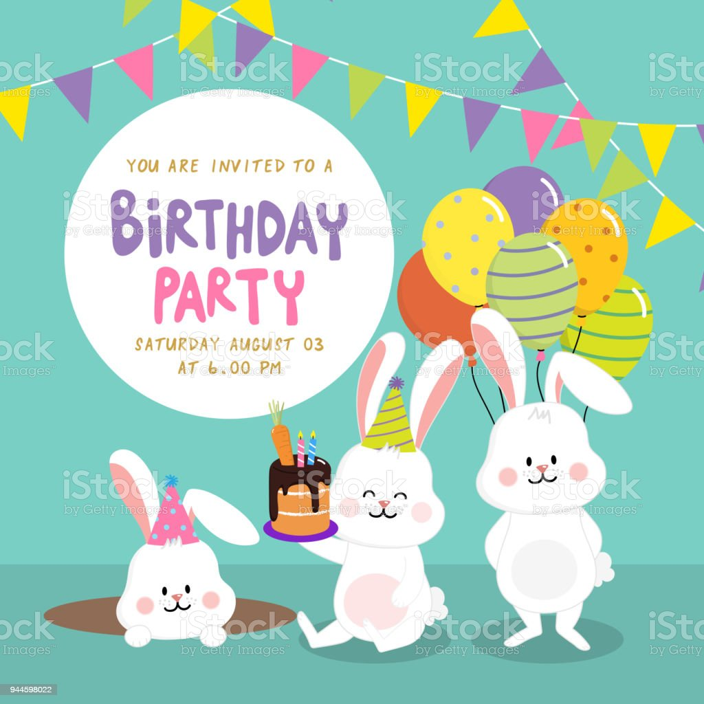 Birthday Party Invitation Card With Cute Rabbits Stockowe
