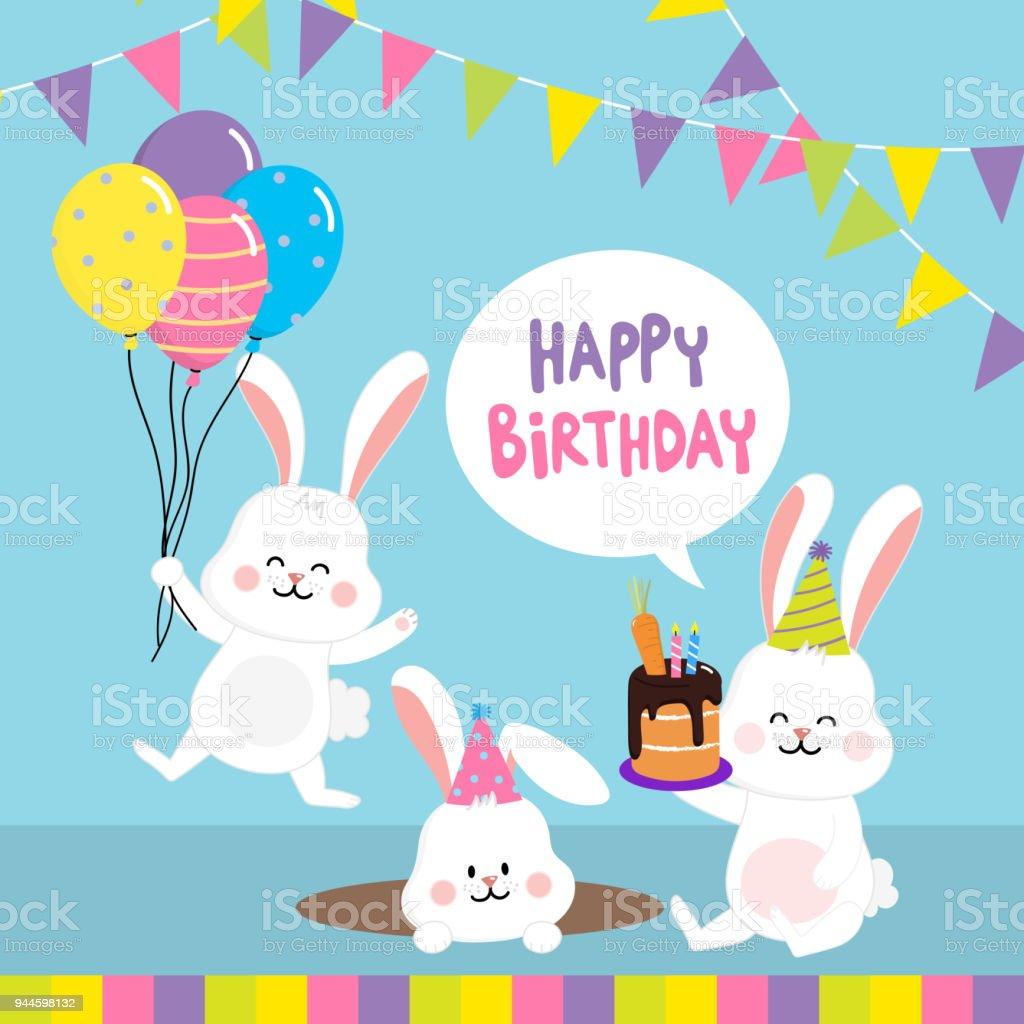 Birthday Party Invitation Card With Cute Rabbits Stock Vector Art