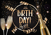 Birthday Party invitation card with glasses and bottle of champagne and serpentine. Vector illustration