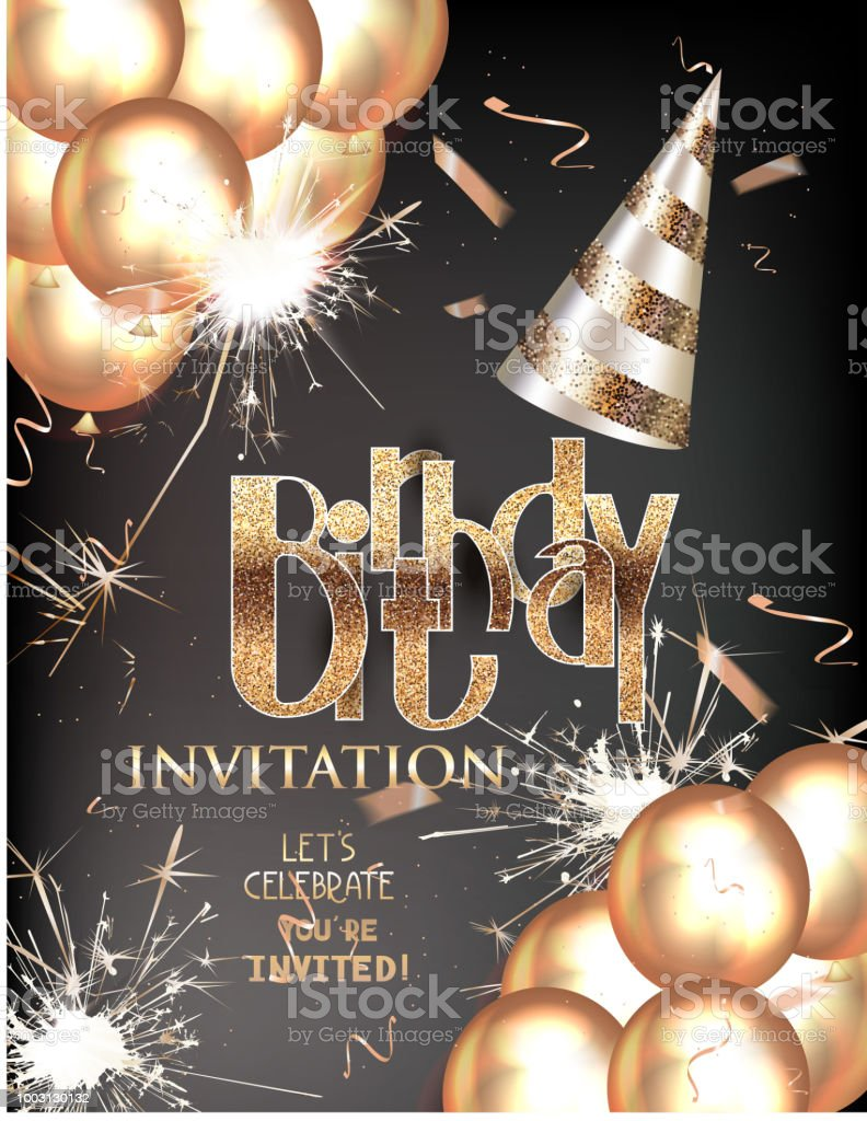 birthday party invitation card with golden letters party hat and others decorations vector illustration