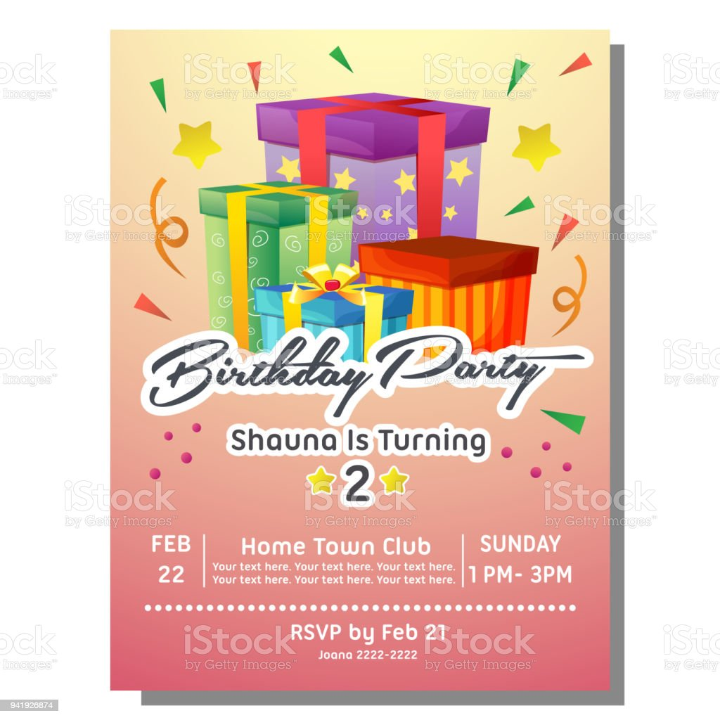 Birthday Party Invitation Card With Present Box Stock Vector Art ...