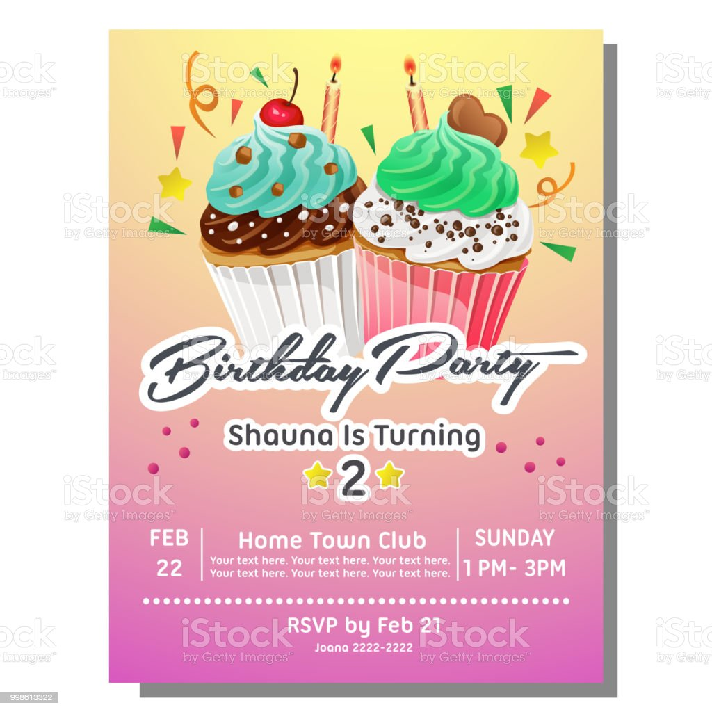 birthday party invitation card with sweet slice muffin cake stock