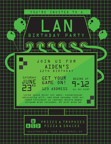 LAN birthday party invitation design template
