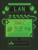 LAN birthday party invitation design template